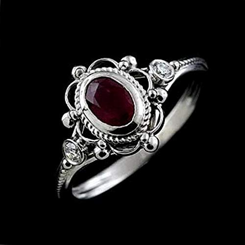 Dokis Vintage Women 925 Silver Amethyst Ruby Man Ring Wedding Engagement Size 6-10 | Model RNG - 17045 | 7 ()