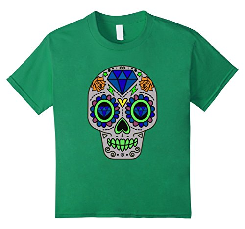 Costume Skull Candy (Kids Candy Skull Scary Halloween Costume T-Shirt 12 Kelly)