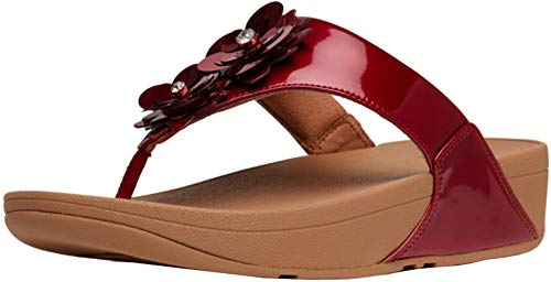 (FitFlop(TM Lulu(TM) Flower Patent Toe-Thongs, Fire Red, Size 11)
