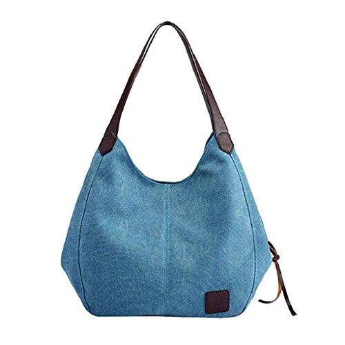 de Ocasión Bolsos Playa Mujeres Gran Capacidad QUICKLYLY Para Bandolera La VáLida Lona de Casual Multifuncional Mano Azul Bag Cualquier 4PEwwTRq
