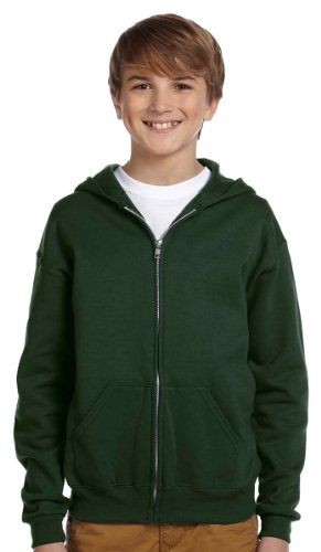 Jerzees Youth Nublend Full-Zip Hooded Sweatshirt, Frst Green, Small by Jerzees