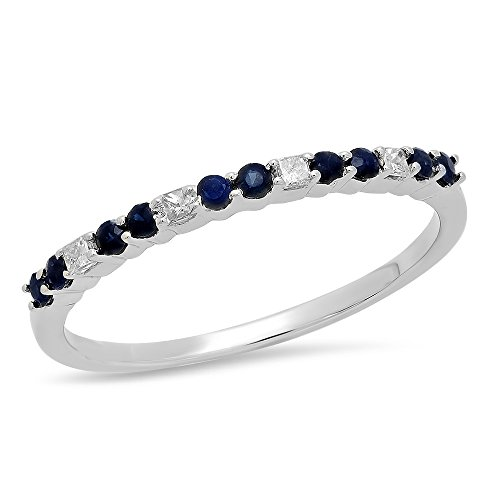 Dazzlingrock Collection 10K Round Blue Sapphire & Princess Cut White Diamond Wedding Stackable Band, White Gold, Size 6 ()