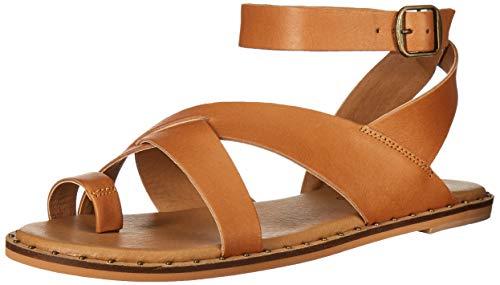 Lucky Brand Women's Farran Flat Sandal, Caramel, 6.5 M US