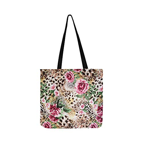 Gabbana Leopard - Texture Of Print Fabric Striped Leopard And Flower Canvas Tote Handbag Shoulder Bag Crossbody Bags Purses For Men And Women Shopping Tote