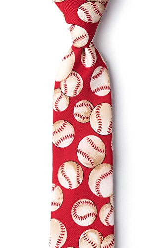 Red Microfiber Boys Tie | Baseballs Boys -