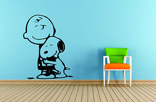 Charlie Brown and Snoopy Wall Vinyl Art Decal/Peanuts Cartoon Kids Bedroom Stickers Decals/Childs TV Characters/Patty Shermy Snoopy Violet Gray Linus Van Pelt Decals Kids Hugs Size 20x20 inch]()