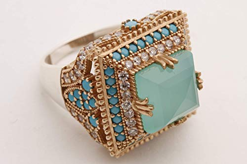 Turkish Handmade Jewelry Square Shape Princess Cut Aquamarine and Round Cut Turquoise Topaz 925 Sterling Silver Ring Size Option ()