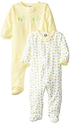 Gerber Unisex-Baby  2 Pack Sleep N Play Zip Front Ducks, Yellow, 3-6 Months