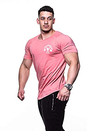 662721321bba Mens Muscle Fit Muscle Works T-shirt Fitness Bodybuilding Gym Wear Clothing  MMA Pink (