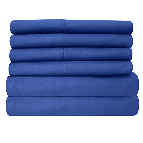 Sweet Home Collection 6PC-SHT-T-RYLBL 6 Piece 1500 Thread Count Egyptian Quality Deep Pocket Bed Sheet Set - 2 EXTRA PILLOW CASES, VALUE -Twin, Royal ()