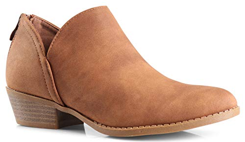 Ankle Leather Bootie (LUSTHAVE Women's Drew Western Almond Round Toe Slip on Bootie - Low Stack Heel - Zip Up - Casual Ankle Boot Tan PU 7)