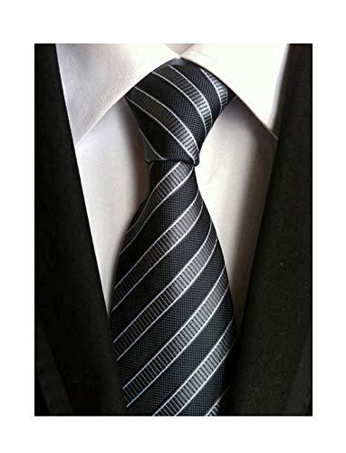 Secdtie Men's Striped Grey Black Jacquard Woven Silk Tie Formal Necktie TW01 Black Striped Silk Necktie