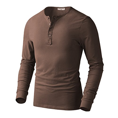 Derminpro Men's Thermal Cotton Henley Long Sleeve T-Shirts Coffee Large