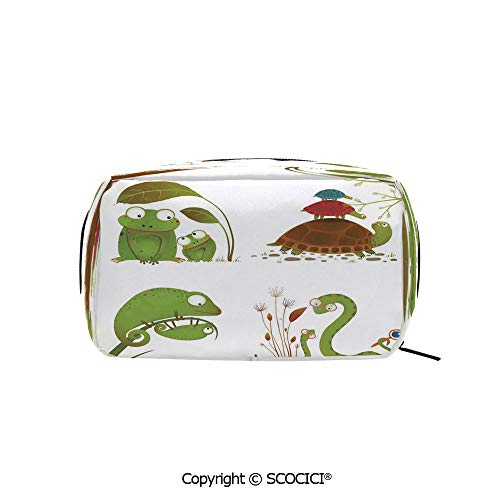 Frog Quilted (Rectangle Organizer Toiletry Makeup Bags Pouch Reptile Family with Colorful Baby Collection Snake Frog Ninja Turtles Love Mother Portable Makeup Brushes Bag)