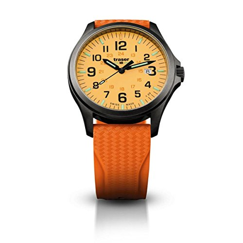 Traser Officer Pro GunMetal, Rubber Strap, Orange, 42mm, 107423