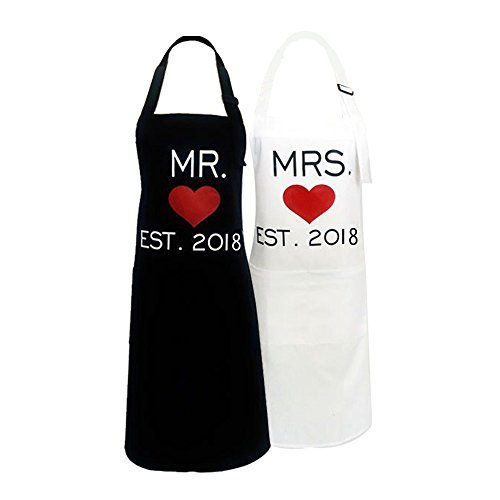 KMCH Mr. and Mrs. Aprons Couples Kitchen Aprons Funny Cooking Bibs Gifts for Wedding Newlyweds Engagement, Anniversary Bridal Shower Gift His and Hers Sets (Love Heart)