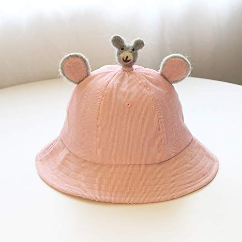 Childrens Place Corduroy - Baby hat Soft Sister Small Yellow hat Fresh Baby hat Ears Parent-Child hat DIY Corduroy Children, Koala Pink, to Plus Velvet Small S Code Children 0-2 Years Old (50CM)