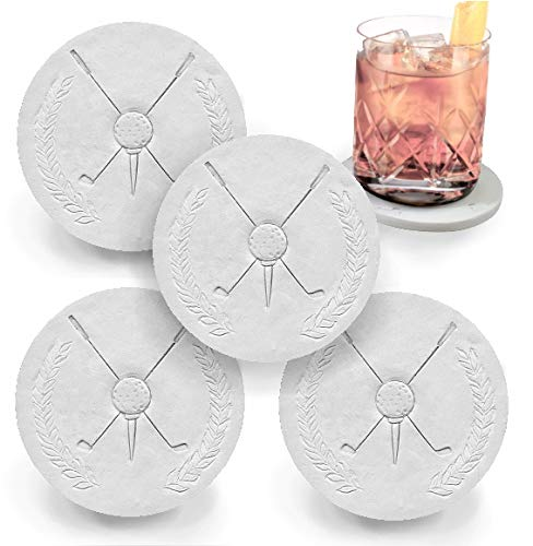 Set Coaster Golf - Drink Coasters by McCarter Coasters, Golf, Absorbent, Light Beige 4.25 inch (4pc)