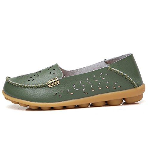 Lingtom Kvinna Tillfälliga Läder Loafers Platt Körning Slip-on Skor Gröna 02