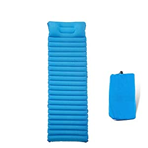 Forall-Ms Inflatable Single Sleeping Mat with Air Bag, Camping Mattress Waterproof Compact Pad 8cm Ultra Thick Bed with Pillow,Blue-L