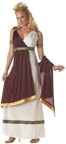 California Costumes Women's Roman Empress Costume,White/Burgundy, Medium ()