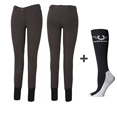 TuffRider Women Starter Lowrise Pull On Breeches with FREE Boot Socks | Knee Patch | Horse Riding Pants | Equestrian Apparel - DarkCharcoal - 28 Peaches Low Rise Pants