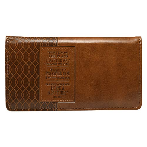 (Christian Art Gifts Jeremiah 29 11 Two-tone Checkbook Cover ,Brown ,One Size )