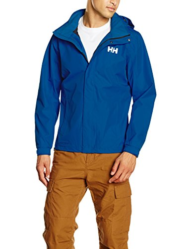 (Helly Hansen Men's Dubliner Jacket Waterproof, Windproof, Breathable Shell Rain Coat with Packable Hood, 563 Olympian Blue, Large)