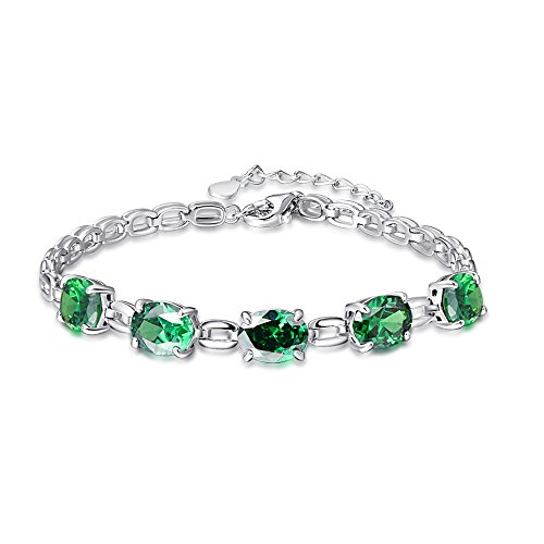 al Cut Created Green Emerald Solid 925 Sterling Silver Square Link Chain Bracelet Jewelry (Emerald 925 Silver Bracelet)
