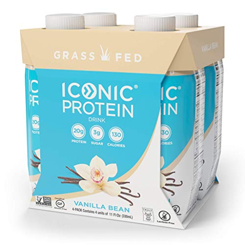 Iconic Protein Drinks, Vanilla Bean (4 Pack) | Low Calorie, Grass Fed, High Protein Shakes | Lactose Free, Gluten Free, Non-GMO, Kosher | Low Carb Snack & Healthy Breakfast Drink | Keto Friendly