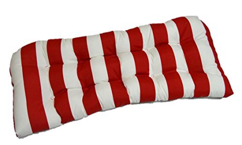Indoor / Outdoor Cushion for Wicker Loveseat Settee - Red White Stripe ()
