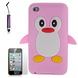 AOA Cases® Penguin Style Case Back Cover For Apple iPod Touch 4TH Gen Generation 4 4G + Mini Stylus (Light Pink)