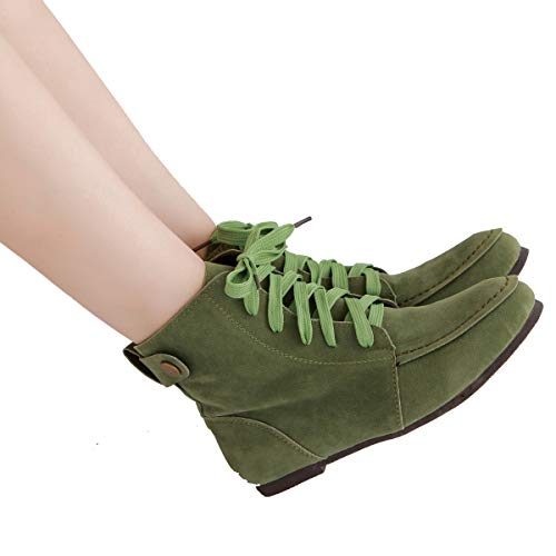 Women Green Suede Ankle Martin Lace up Fashion Combat Flat Boots Boots FgrTwqOF
