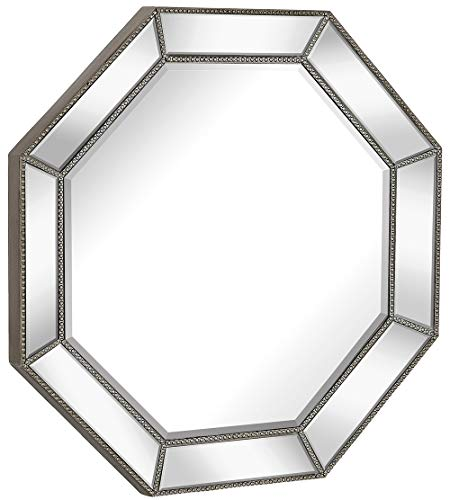Hamilton Hills Large Framed Octagon Wall Mirror with Angled Beveled Mirror Frame | Premium Silver Backed Glass Panel Vanity, Bedroom, or Bathroom | Mirrored Round Overall Shape (30