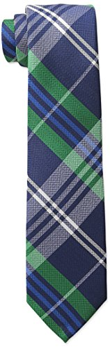 Green Boys Polyester Ties (Wembley Men's Caen Plaid Tie,Green,One Size)