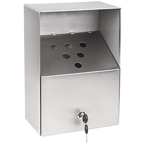 Cam Lock Stainless Steel Urn (Crown Verity AT-002 Large Stainless Steel Outdoor Wall-Mount Urn with Keyed Cam Lock)