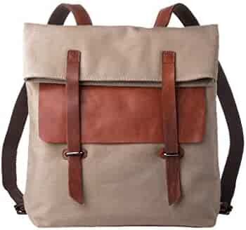 DuDu Backpack Rucksack Daypack Casual for Men Women in Canvas Genuine  Leather Urban College Travel School 4ac3f1c090