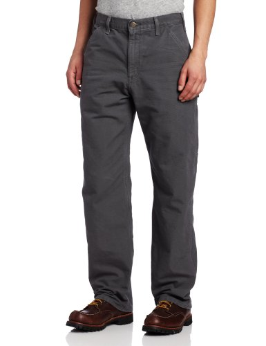 Carhartt Men's Washed Duck Work Dungaree Flannel Lined,Gravel,32 x 36 ()
