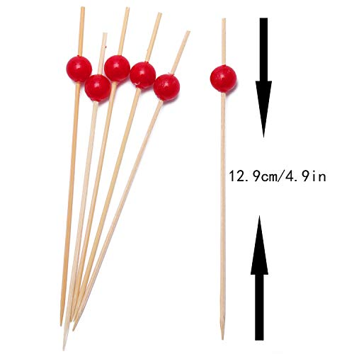 Cocktail Picks Handmade Bamboo Toothpicks 4.7'' Multicolor Party Supplies (100 Count, Red Pearl) by AI-DEE (Image #2)