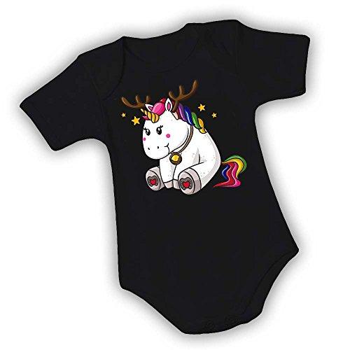 Regalo Mesi Manica Neonato 12 Bambino Natale Body Femminuccia Idea Unicorno Di Corta Bodino Nero xAIg1F