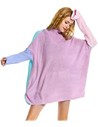 Women Mock Neck Long Sleeve Color Block Cable Knit Pullover Oversized Sweater Tops
