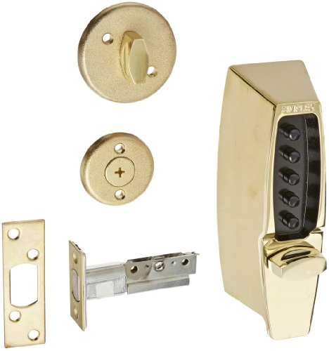 Kaba Simplex 7100 Series Metal Mechanical Pushbutton Auxiliary Lock with Thumbturn, 25mm Tubular Deadbolt, Flat Front Face Plate, 60mm Backset, Bright Brass Finish
