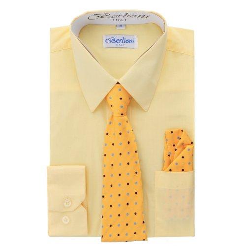 Elegant Boys Button Down Lemon (710) Dress Shirt/Necktie/Hanky (14) by King Formal Wear