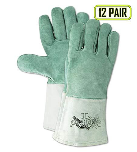 Magid Glove & Safety T5555MED Magid Weld Pro Gunn Pattern Leather Welding Gloves, 6, Gray, Medium (Pack of 12)