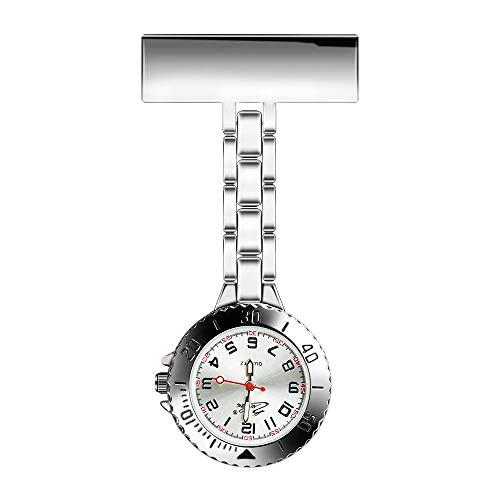 WIOR Nurse Watch Lapel Pin Fob Watch Paramedic Doctor Brooch Pocket Watch Quartz Movement Nurses Watch Clip-on Hanging…
