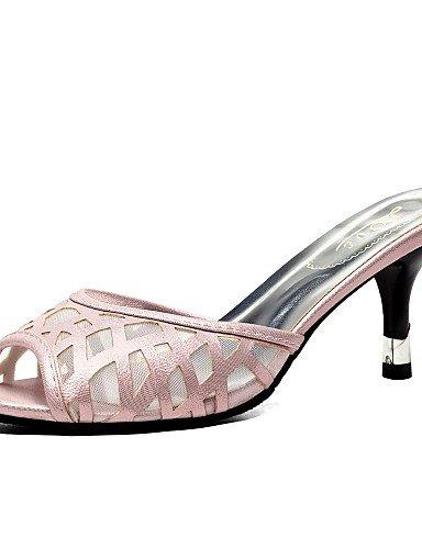 LFNLYX Zapatos de mujer-Tacón Stiletto-Tacones / Punta Abierta / Zapatillas-Sandalias-Vestido / Casual / Fiesta y Noche-Tul / Semicuero-Negro / Black