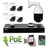 GW Security 8 Channel HD 1920p Security System with 2TB HDD, 4 HD 5MP 1920p 2.8-12mm Varifocal Outdoor Indoor PoE IP Cameras, and 1 20X Zoom 5MP 1920p IP PTZ Camera