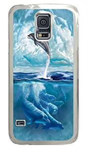 Dolphin Sky PC Case Cover for Samsung S5 and Samsung Galaxy S5 Transparent