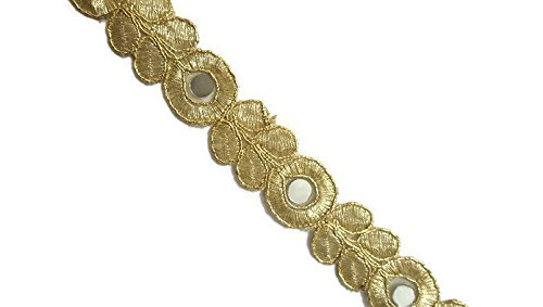 Thin Golden Mirror Work Trim Fabric Thin scarf Lace Mirror Trim Indian Lace Easy Sewing-Width 2 cm-Price for 1 Yard-IDL261 iDukaancrafts
