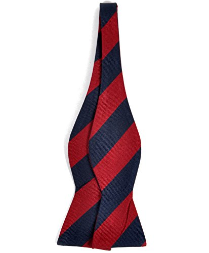 Silk Woven Belt - Striped Silk Woven Bow Tie, Red / Navy
